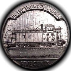 TOM MAHER HOBO NICKEL - SANTA FE CABOOSE #5 - BUFFALO NICKEL REVERSE CARVING Hobo Nickel, Simple Art, Locomotive, Santa Fe, Platforms, American History, Trains, Buffalo, Patches