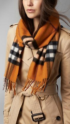 Burberry copper orange Check Cashmere Scarf - Warm brushed cashmere scarf in check, with fringing at both ends. Discover the scarf collection at Burberry.com