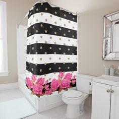 Elegant Black White Stripes Pink Roses Shower Curtain