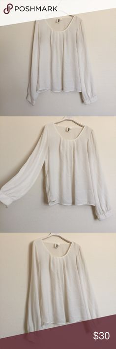 """Cream light weight semi sheer pleated blouse small Great condition long sleeve blouse with pleated scoop neck. Semi sheer material. Flowy and perfect for warmer weather. Pit to pit 19"""", length 22"""". Bundle to save 25%! Anthropologie Tops Blouses"""