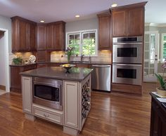 Johns Creek Traditional Elegance Kitchen Remodel- Accent Kitchen Island, Wine Storage, Microwave In Island