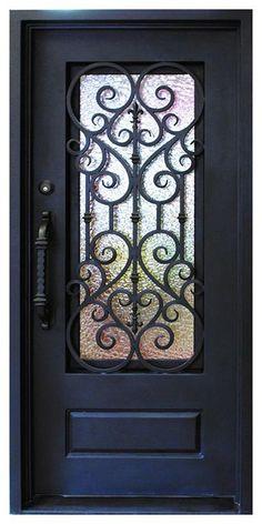 Single iron door with sidelite, double iron door with sidelite, wrought iron door entry door Entrance door metal door . Door Gate Design, Main Door Design, House Front Design, Iron Front Door, Glass Front Door, Iron Doors, Traditional Front Doors, Window Grill Design, Wrought Iron Decor
