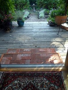 Building a brick step on a wood deck can be simple and inexpensive Outdoor Crafts, Outdoor Ideas, Outdoor Decor, Patio Ideas, Backyard Ideas, Garden Projects, Home Projects, Brick Steps, Recycled Brick