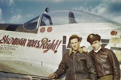 """P-51D-20-NA (serial number 44-63209) of the 84th Fighter Squadron, 78th Fighter Group, nicknamed """"Sherman was Right !"""". The phrase derived from a speech in which General William T. Sherman (commander of a Union Army in the American Civil War) said: """"There is many a boy here who looks on war as all glory but, boys, war is all hell."""" The pilot in front of it is Frank E. OILER (one victory). This aircraft was lost in 1945 with its pilot Louis R. HEREFORD (KIA) Photos : Roger Freeman Collection"""