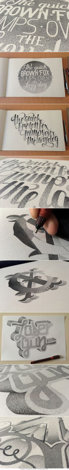 Stippled Hand Lettering http://www.thisiscolossal.com/2014/03/stippled-typography-casalta-xavier/ - created via http://pinthemall.net