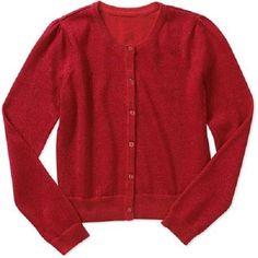 Girls Long Sleeve Holiday Red Sparkle Cardigan Button Down Sweater Sz 7/8 ~ BNWT #George #Cardigan #ChristmasThanksgivingValentinesDayDressyEverydayHoliday