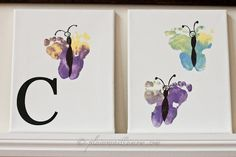 Butterfly footprints on canvas