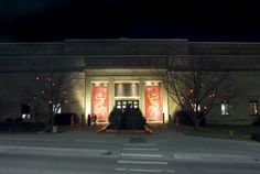 Night view of the Spencer Museum of Art at the University of Kansas in Lawrence.