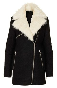 Faux Fur Collar Black Belted Coat by: Oasap | Fall wardrobe   ...
