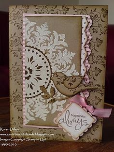 Stampin Up Card, Crumb, White & Pink, Medallion BG stamp, bird builder punch