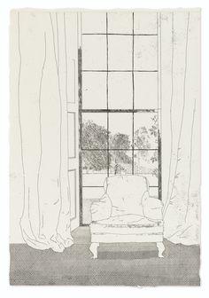 Hockney, David -- Frères Grimm SIX FAIRY TALES. LONDRES, PETERSBURG PRESS, 1970. 2 volumes in-folio (450 x 310 mm), dont l'un contenant les suites. Relié à la chinoise. Box bleu ardoise janséniste, sous étui (Reliure de l'éditeur par Rudolf Reiser). Coins de l'étui très légèrement frotté, sinon exemplaire très propre. Illustré par David Hockney de 39 gravures (eaux-fortes, pointes sèches et aquatintes) dont un frontispice et 12 hors-texte.