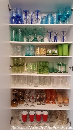 Storage Ideas for Dishes, Glasses, Flatware, Napkins, Tablescapes | Between Naps on the porch