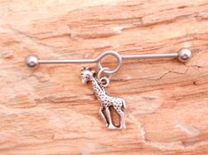 Giraffe Industrial Barbell Body Jewelry Piercing on Etsy, $8.50