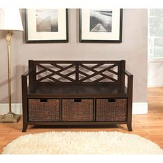 $294.99 The Nolan Entryway Storage Bench is a transitional styled piece that is functional, attractive and comfortable. This durable bench is wide enough to comfortably seat 2 people and has under seat basket storage to effectively organize your entryway. The casual look of this bench fits easily into all homes and adds a touch of style in your entryway.