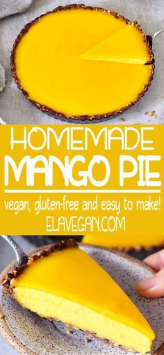 This mango cheesecake pie with a jelly layer is light, creamy, fruity, smooth, and very delicious. It's the perfect dessert which is not too sweet and it contains a delicious granola crust. The recipe of this mango tart is vegan, gluten-free, refined sugar-free, and easy to make! Soy-free no-bake version is in the recipe notes! #mangopie #mangotart #mangocheesecake #vegancheesecake #vegandessert #elasrecipes | elavegan.com