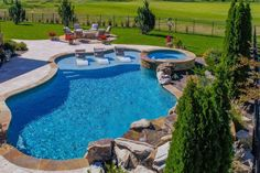 Small Backyard Patio, Backyard Pool Landscaping, Backyard Patio Designs, Swimming Pools Backyard, Swimming Pool Designs, Outdoor Pool, Inground Pool Designs, Gunite Swimming Pool, Small Inground Pool