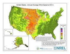 Thumbnail image of the national 30m wind speed potential in the United States map.