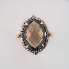 Smoky Quartz & Brown Diamond Halo Ring.