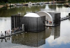 mobile domed bridge splits in half to form both separate and shared spaces