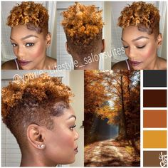 Natural tapered cut with fall like colors. Natural Tapered Cut, Natural Blondes, Natural Hair Journey, Fall Hair, Haircolor, Natural Hair Styles, Hair Cuts, October, Colors