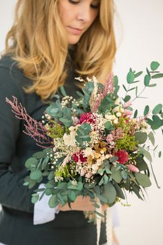 Rustic wedding bouquet made of preserved Eucaliptus and wild flowers. It stays fresh up to 10 years!