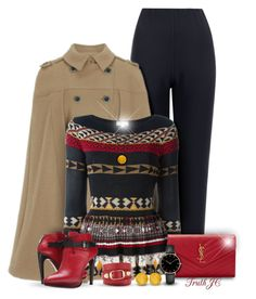 Quite Cape-able by truthjc on Polyvore featuring polyvore, fashion, style, Etro, WearAll, COSTUME NATIONAL, Yves Saint Laurent, Balenciaga, CLUSE, Catherine Canino Jewelry, Marlin Birna, Trilogy and clothing