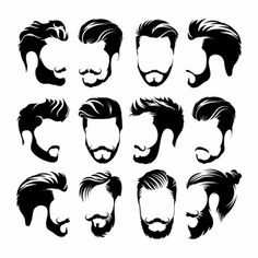 Hipster Hair, Mustaches and Beards. Beard And Mustache Styles, Beard No Mustache, Hair And Beard Styles, Long Hair Styles, Mens Hairstyles With Beard, Hipster Hairstyles, Haircuts For Men, Drawing Male Hair, Beard Logo