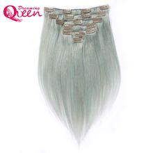 Dreaming Queen Hair Straight Hair Clip In Brazilian Remy Human Hair Extensions Silver Grey Color 7 Pieces/Set 120g Clips US $44.20