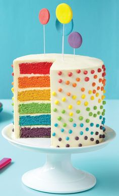 How to Make a Rainbow Layer Cake. I've always wanted to make a pretty cake like…