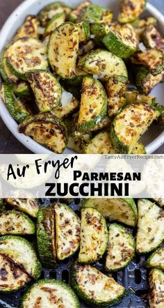 For a simple side dish make this Parmesan Zucchini In An Air Fryer. Air Fried Zucchini tossed with parmesan cheese and Italian seasonings makes a fantastic healthy side for your dinner. Zucchini Side Dishes, Low Carb Side Dishes, Healthy Side Dishes, Side Dishes Easy, Side Dish Recipes, New Air Fryer Recipes, Air Frier Recipes, Air Fryer Dinner Recipes, Air Fried Vegetable Recipes