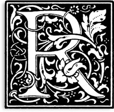 William Morris Renaissance Style Cloister Alphabet Letter R by Pixelchicken