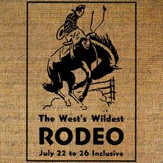 Cowboy Rodeo Rides Horse Bucking Bronco Western Old West Digital Image Download Transfer To Pillows Tote Tea Towels Burlap No. 3390