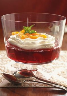 Cherry-Pomegranate JELL-O – A COOL WHIP topping contrasts dramatically with the deep, dark, rich color of this Cherry-Pomegranate JELL-O dessert. This one's a showstopper!