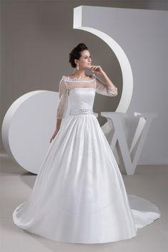 Robe de mariée en satin de traîne moyenne de princesse dos vie