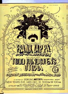 Frank Zappa and the Mothers, Todd Rundgren's Utopia, Captain Beefheart - New Years Eve 1975