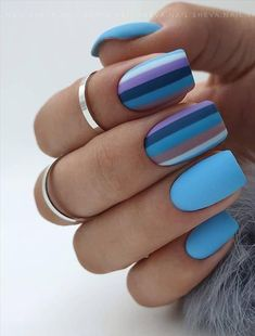 -Acrylic short square nails design for summer nails, Short square nails color ideas, Natural gel short square nails design, Pretty and cute acrylic nails design Square Nail Designs, Short Nail Designs, Nail Art Designs, Nails Design, Striped Nail Designs, Creative Nail Designs, Design Design, Cute Nails, Pretty Nails