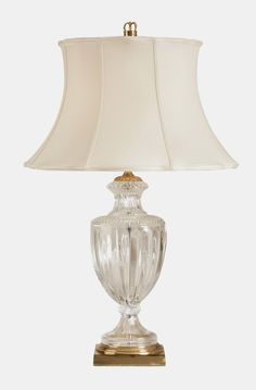 Pair of Modern Antique Brass /& Crystal Table Lamp Bedside Cream Faux Silk Shades