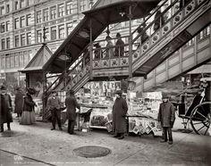 """New York Newsstand """"A characteristic sidewalk newsstand,"""" circa 1903"""