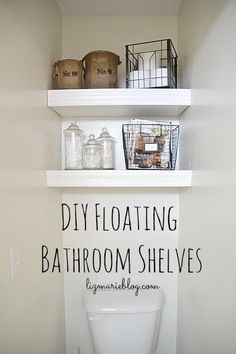 Sneak some storage into a tight space with DIY Floating Bathroom Shelves like these from lizmarie -- Note: it's not just about the shelving - it's about the types of storage containers you choose.  Make them count.
