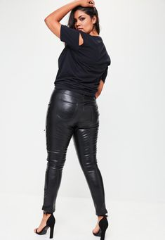 Missguided - Plus Size Black Premium Faux Leather Pants