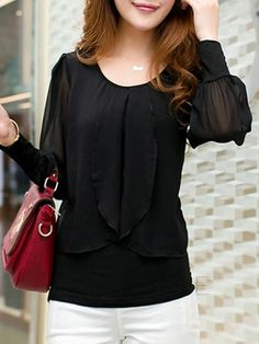 Solid Color Round Neck Chiffon Blouse