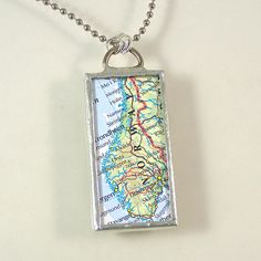 Norway Map Pendant Necklace by XOHandworks