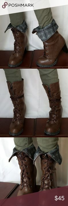 Combat Boots Two style wear boots. U can fold too down so show plaid  or wear this up for calve cover. Shoes Combat & Moto Boots