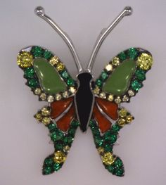 Enameled tsavorite garnet and diamond butterfly pendant