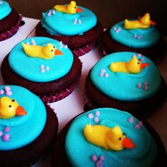 Ducky cupcakes are so adorable!!!  Http://www.carytown-cupcakes.com