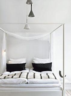 interior * bedroom * black&white * minimalistic * canopy bed