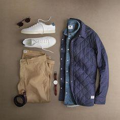 Fall staples  #monday  Shoes: @commonprojects Exclusive for @mrporterlive  Shirt Jacket: @penfieldusa Kemsey Quilted Shirt: @nonationality07 New Derek Denim Pants: @nonationality07 Maro Khaki Sunglasses: @persol Belt: @caputoandco Watch: @danielwellington