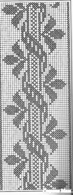 crochet and arts filet crochet Cross Stitch Borders, Cross Stitch Designs, Cross Stitching, Cross Stitch Embroidery, Cross Stitch Patterns, Filet Crochet, Crochet Chart, Thread Crochet, Crochet Table Runner