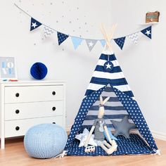 Tipi is a great kids gift idea. The colorful teepee tent is superb for fun and as part of the children's room interior. Outdoor Patio Pavers, Paver Walkway, Teepee Tent, Play Tents, Teepees, Patio Flooring, Navy Stripes, Patio Design, Floor Mats