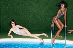 On the Green – Shoe and accessories label Aldo taps Emily DiDonato and Jourdan Dunn for its spring 2013 campaign, photographed poolside by Daniel Jackson. Daniel Jackson, Black Magazine, Emily Didonato, Jourdan Dunn, Black Models, Aldo Shoes, Swimwear Fashion, That Way, Fashion Beauty